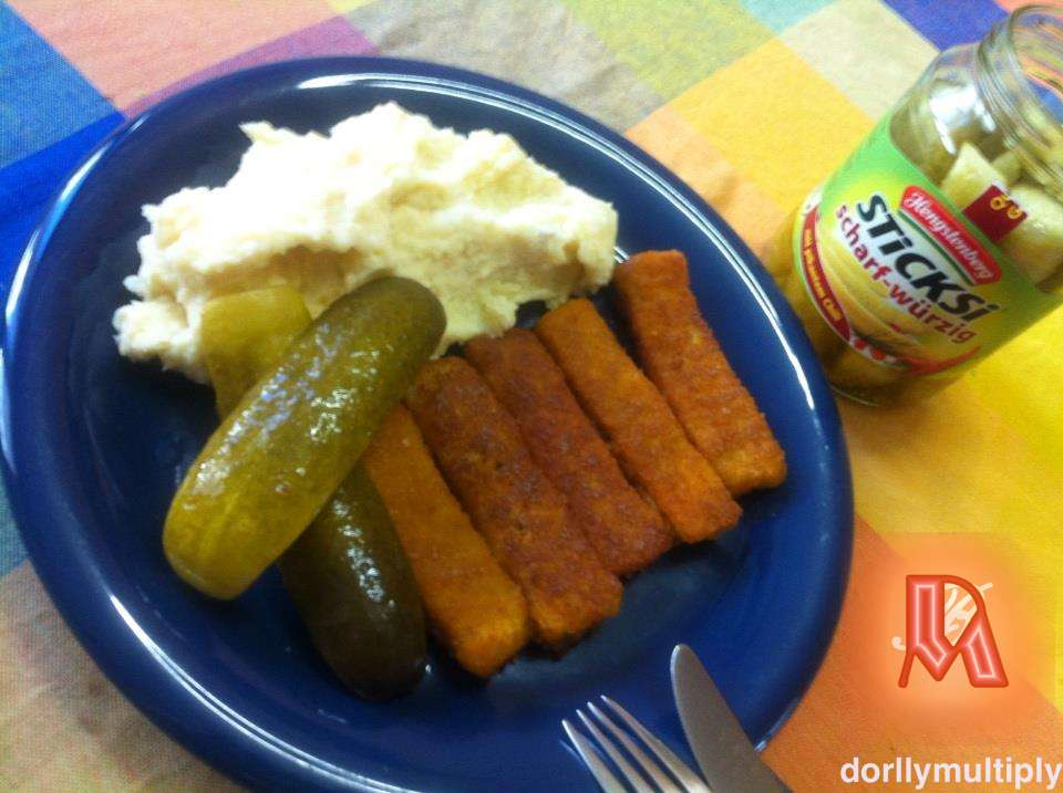 FISH FINGERS and MASHED POTATOES with HOT PICKLED CUCUMBER