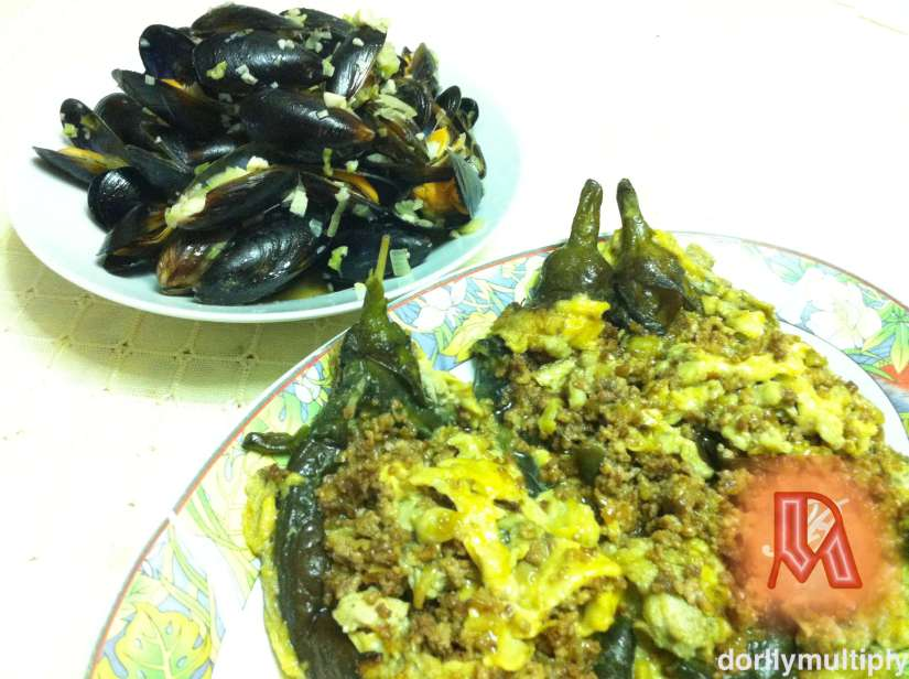 MUSSELS WITH WINE and EGGPLANT TORTA