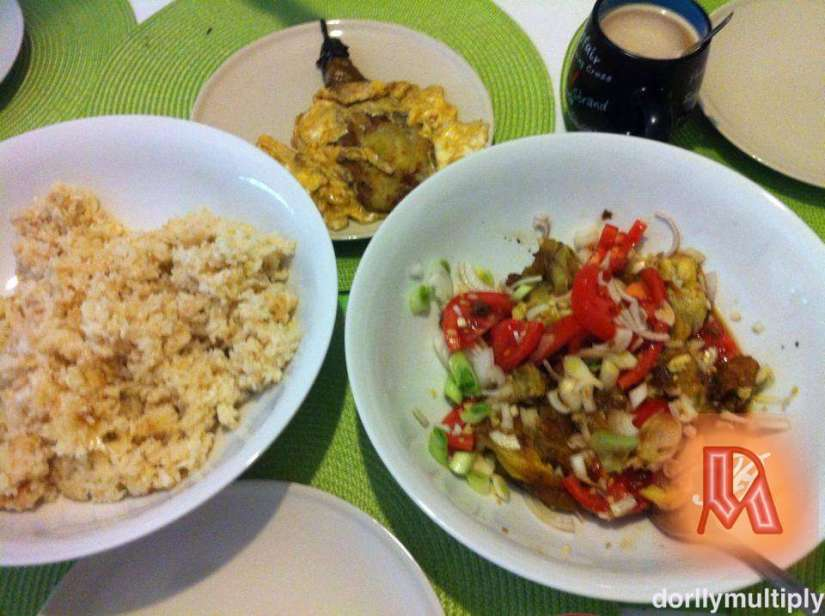 Brealfast with fried rice and Talong inihaw
