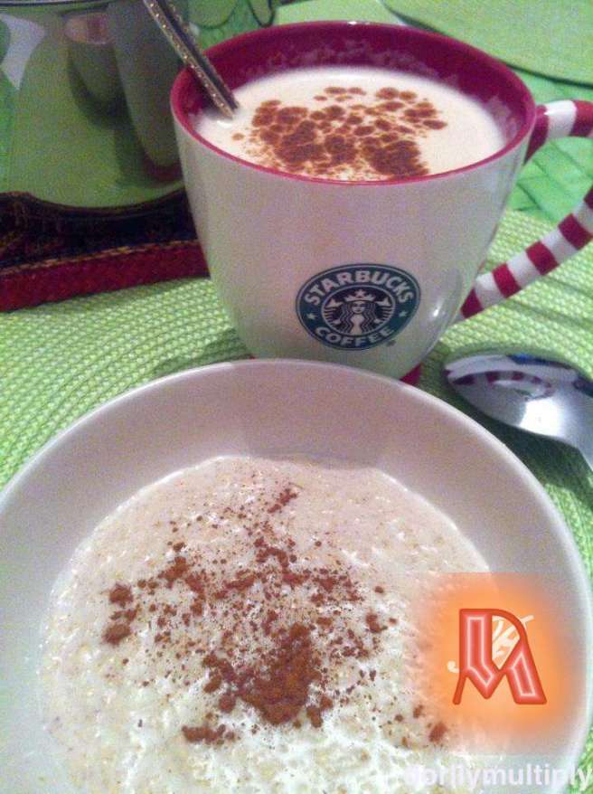 Oatmeal and Coffee with cinnamon powder