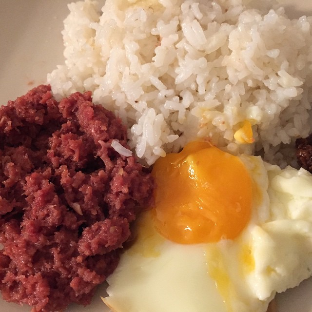 RICE, CORNED BEEF AND EGG